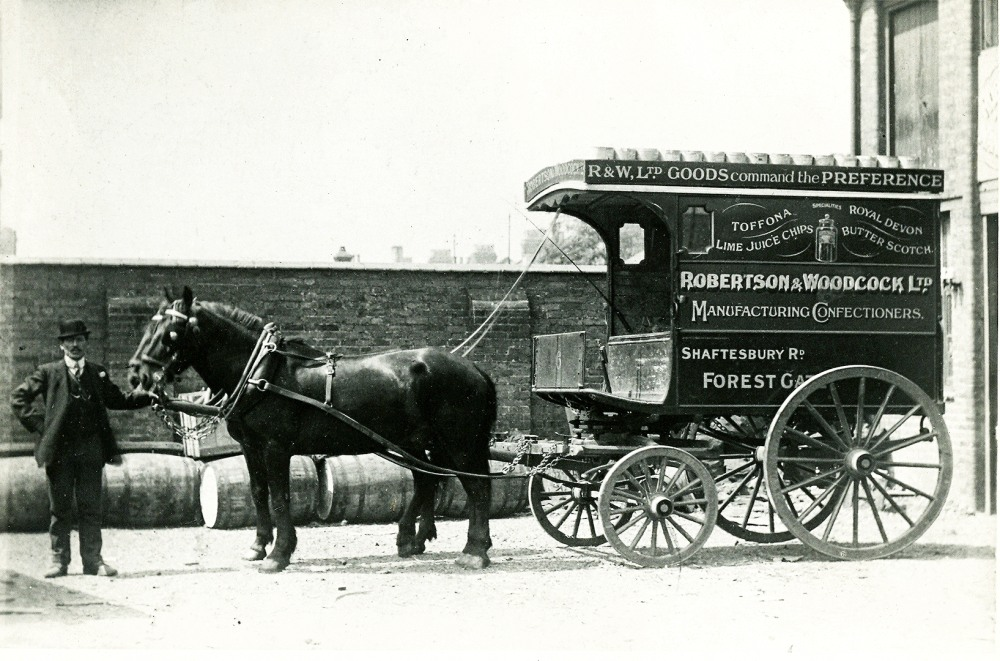 Driver B Fretwell seen with the firm's horses and van in 1910.