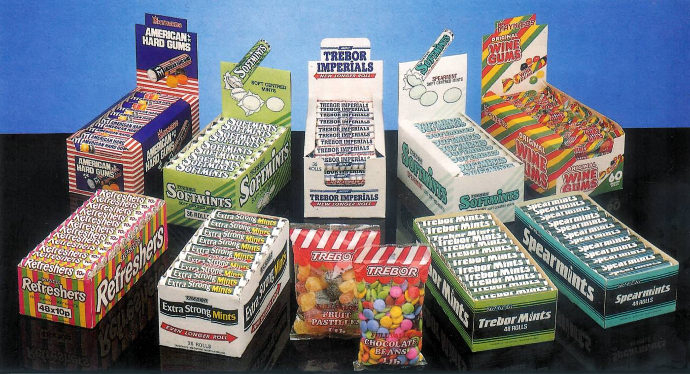 Headline brands of 1986 included old favourites like Trebor's Extra Strong Mints, Refreshers and Imperials alongside the newly acquired Maynards Wine Gums and American Hard Gums. Eighties newcomers Softmints have settled in well, along with the 1984-launched Spearmints. Fewer boiled sweets feature as mints take over. By now the firm was installing Mint Bars in shops to make the most of its range.