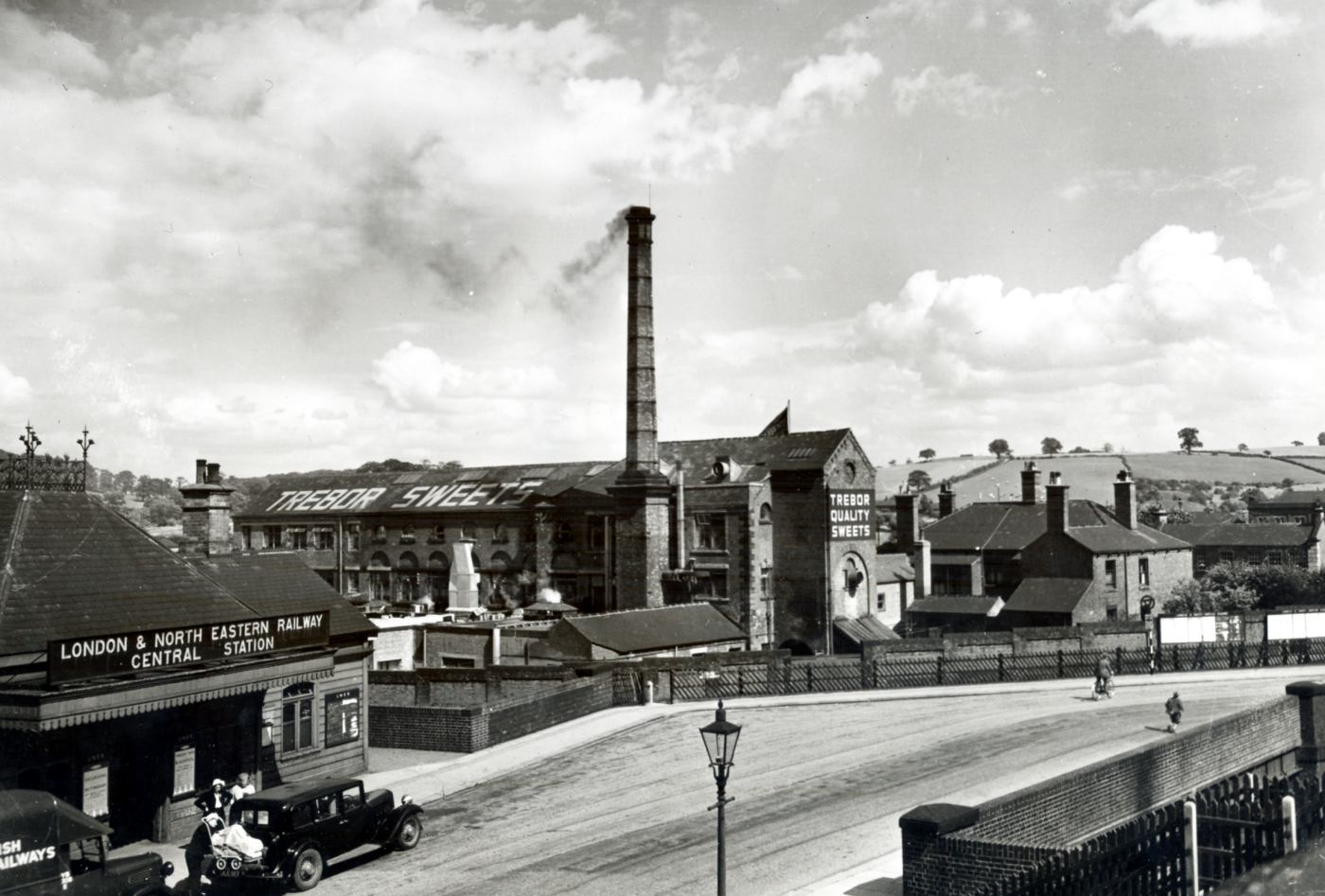 The new Chesterfield factory backed onto green fields, but was handily next to a railway station and goods yard.