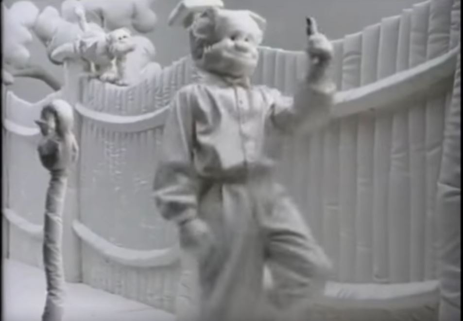 The famous Mr Soft TV ad from 1987, selling Trebor Softmints with a song sounding like The Cure. 'Mr Soft won't you tell me why the world in which you're living is so straaaange ... how come everything around you is so soft and re-arraaaanged.'
